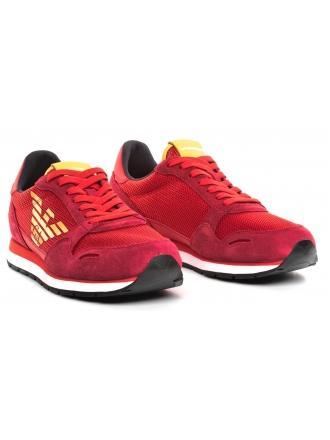 Sneakersy Męskie Emporio Armani Czerwone X4X215 XL693 A038 SCARLET/LAVA/LAVA