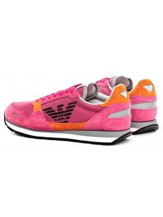 Sneakersy Damskie Emporio Armani Różowe X3X058 XL481 N803 PASSION/ORANGE/SILVE