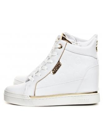 Sneakersy Damskie GUESS Białe FABIA FL7FAB ELE12 WHITE