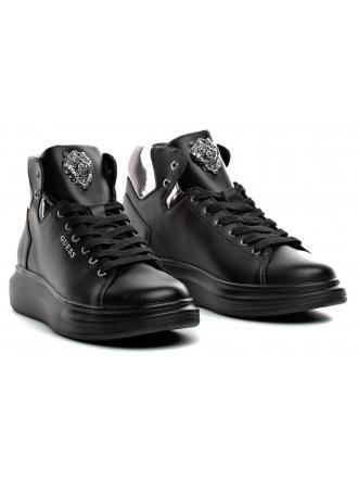 Sneakersy Męskie GUESS Czarne OPERA HIGH FM7OPH LEA12 SILVE
