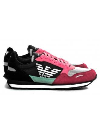Sneakersy Damskie Emporio Armani Kolorowe X3X058 XL481 R528 SPICY RED / STRAWB / BLK