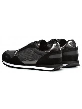 Sneakersy Damskie Emporio Armani Czarne X3X058 XL617 E593 BLACK/GUNMETAL