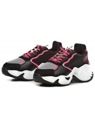 Sneakersy Damskie Emporio Armani Czarne X3X088 XM059 R541 BLK/L.GR/STRAW/GREEN