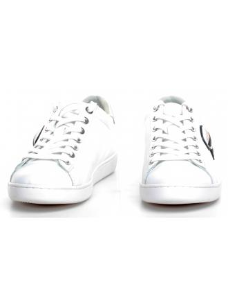 Sneakersy Damskie Karl Lagerfeld Białe KL61230 WHITE LTHR W/SILVER