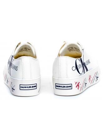 Sneakersy Damskie Calvin Klein Jeans Białe Zamira B4R0885 Bright White