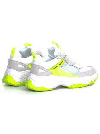 Sneakersy Damskie Calvin Klein Jeans Białe Maya R0802 White/Yello Fluo