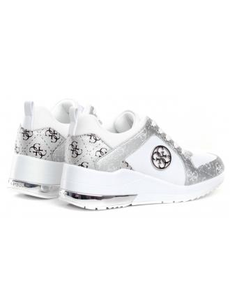 Sneakersy Damskie GUESS Biało-Srebrne JARYDS FL6JRYFAL12 WHISI