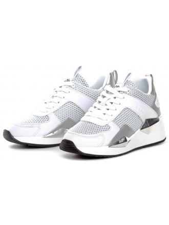 Sneakersy Damskie GUESS Biało-Srebrne TYPICAL FL5TP2 FAM12 WHITE