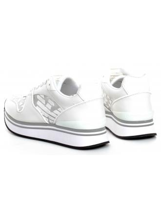 Sneakersy Damskie Emporio Armani Białe X3X046 XM266 D234 WHITE