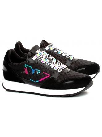 Sneakersy Damskie Emporio Armani Czarne X3X058 XM264 A083 Black