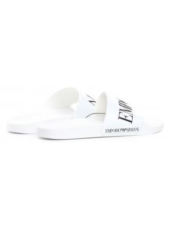 Klapki Męskie Emporio Białe X4P103 XL792 D611 WHITE BLACK