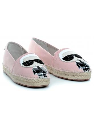Espadryle Damskie Karl Lagerfeld Róż KL80111-4LP Light Pink Lthr&Te