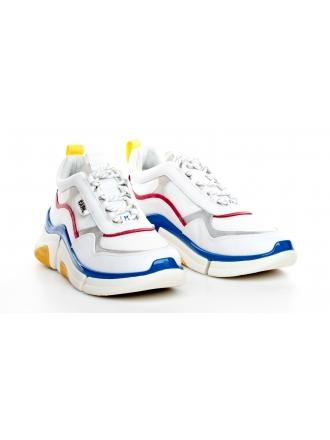 Sneakersy Męskie Karl Lagerfeld Białe KL51721 41M White Lthr & Textile Multi