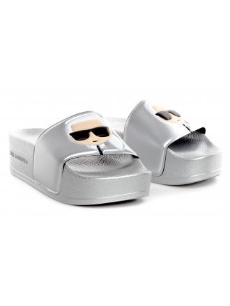 Klapki Damskie Karl Lagerfeld Srebrne Kondo KL80805 VSL Silver Rubber