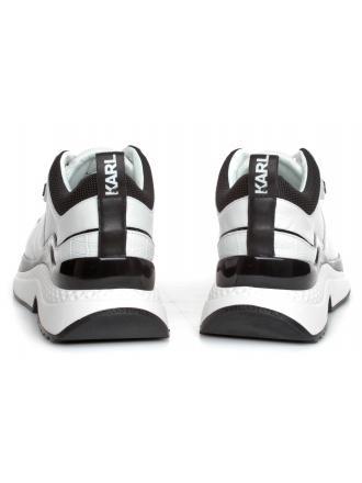 Sneakersy Damskie Karl Lagerfeld Biało-Czarne Aventura KL61616 410 White Lthr&Textile