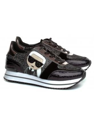 Sneakersy Damskie Karl Lagerfeld Czarne Velocita II KL61932 G0L Black Glitter w/Silv