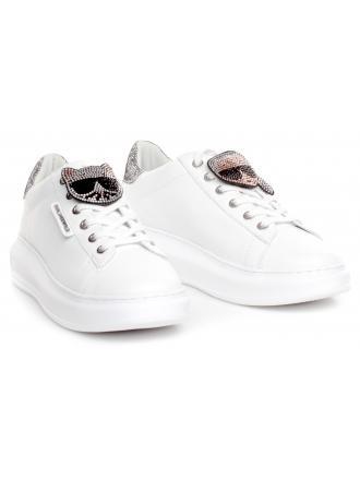 Sneakersy Damskie Karl Lagerfeld Biel Kapri KL62576 01S White Lthr w/Silver