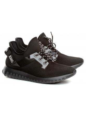 Sneakersy Męskie Calvin Klein Jeans Czarne Rejan B4S0708 Black/Silver