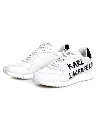 Sneakersy Męskie Karl Lagerfeld Biel Velocitor KL52915 010 White Lthr w/Black