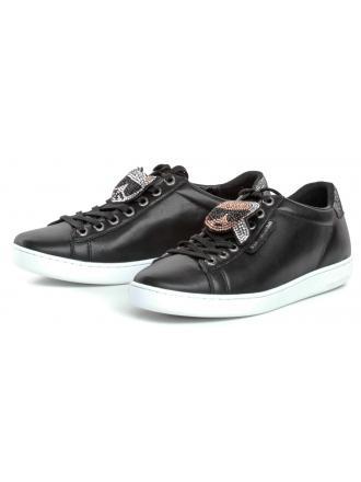 Sneakersy Damskie Karl Lagerfeld Czarne Kupsole II KL61276 000 Black Lthr