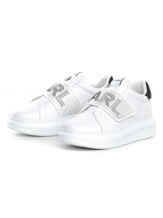 Sneakersy Damskie Karl Lagerfeld Biel Karpi KL62536 011 White Lthr