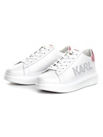 Sneakersy Damskie Karl Lagerfeld Biel KL62520 01P White Lthr w/Pink