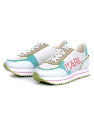 Sneakersy Damskie Karl Lagerfeld Białe VELOCITA II KL61940 3T9 Off Wht :th & Sde w/Aqua