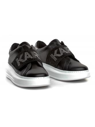 Sneakersy Damskie Karl Lagerfeld Czarne KAPRI KL62536 00S Black Lthr w/Silver