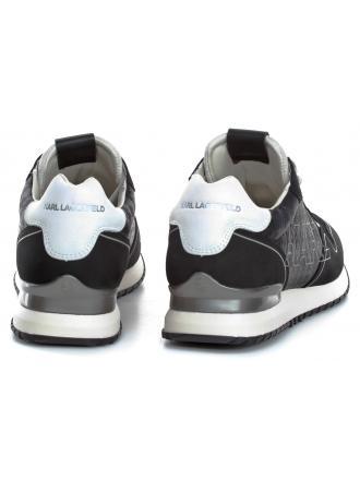 Sneakersy Męskie Karl Lagerfeld Czerń Velocitor II KL52920 400 Black Lthr & Textile