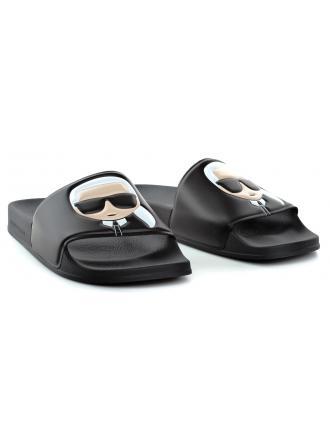 Klapki Męskie Karl Lagerfeld Czarne Kondo KL70005 V00 Black Rubber