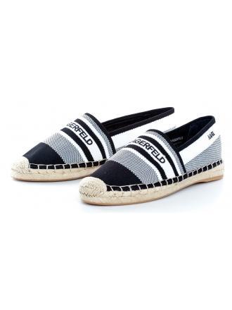 Espadryle Damskie Karl Lagerfeld Czerń Kamini KL80175 K10 White Knit Textille