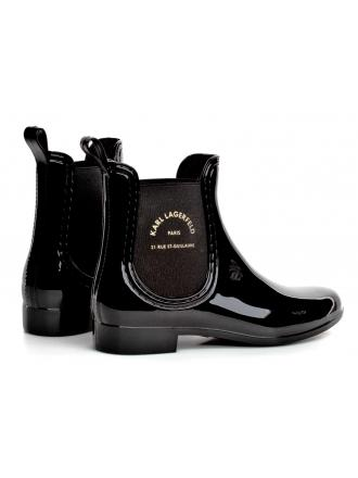 Kalosze Damskie Karl Lagerfeld Czarne KL94770 V0G Black Rubber w/Gold