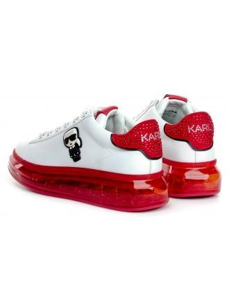 Sneakersy Damskie Karl Lagerfeld Biel KL62630 01D White Lthr w/Red