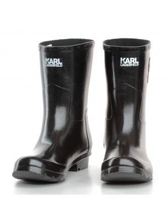 Kalosze Damskie Karl Lagerfeld Czarne Kalosh KL47073 VDS Dark Silver Rubber