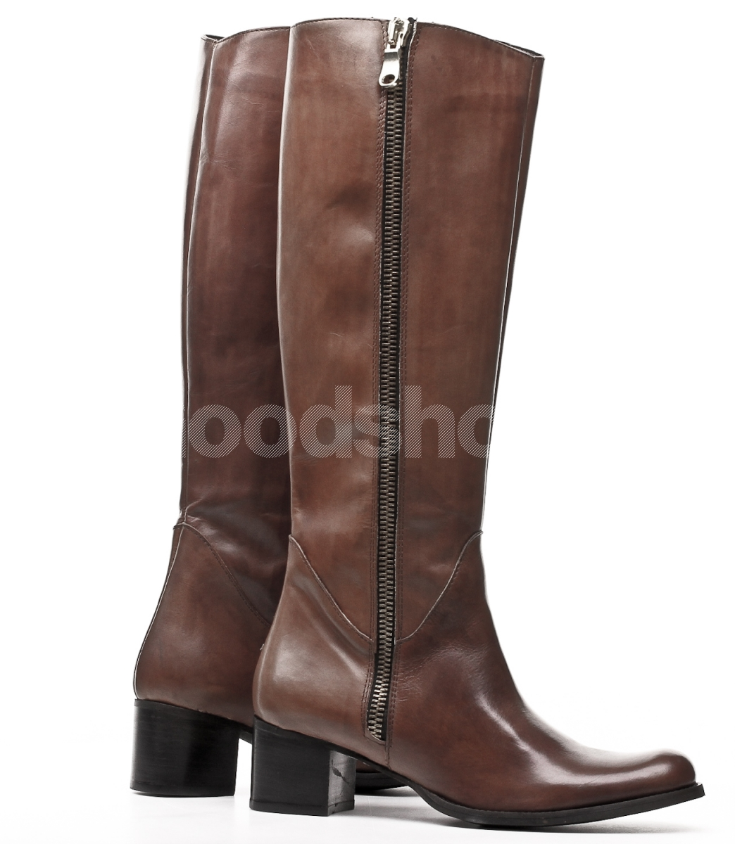 New Frye Frye Lindsay Plate Women Leather Brown Knee High Boot Boots