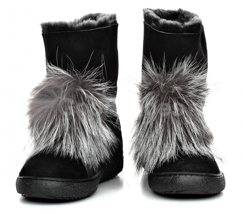 d51f36369a641 Śniegowce Damskie Venezia Czarne Skórzane 2107053R11 BL - Goodshoes.pl