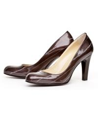 Women's grey patent leather shoes
