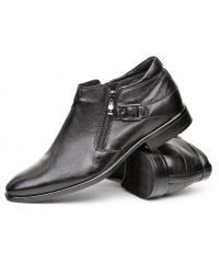 Men's goat black leather shoes