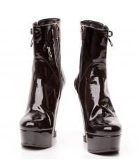Giorgio Fabiani black patent leather wedged short boots