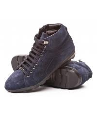 Baldinini men's navy blue natural velvet leather boots