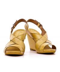 Sandały Włoskie Freemood Żółte Skóra Licowa 02 331 100