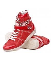 Sneakersy Włoskie Janet Sport Skórzane Czerwone 19 31884 F114