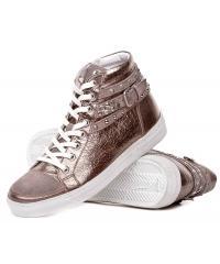 Sneakers Włoskie Janet Sport Skórzane Brudne Złoto 19 31903 BRONZO