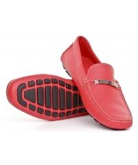 Baldinini red smooth leather moccasins