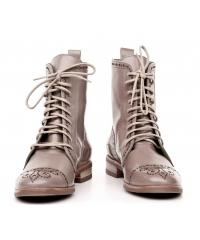 NORD women's beige leather boots with laces