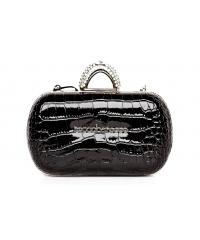 Roccobarococco women's black patent clutch