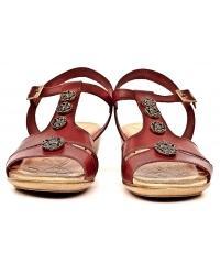 Sandały Skórzane Damskie Andiamo Czerwone 02 67501