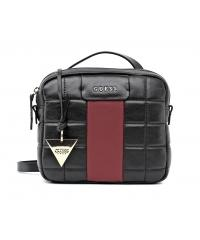 Guess women's black and maroon leather postman bag