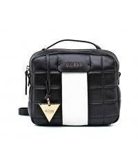 Guess women's black and white leather postman bag