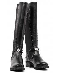 Kozaki Damskie Skórzane Armani Jeans Czarne Dżety 30 Z5539 23 12 Black